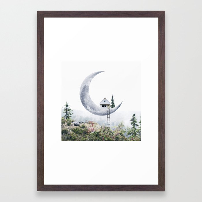 art collecting tips - surreal framed print, moon house