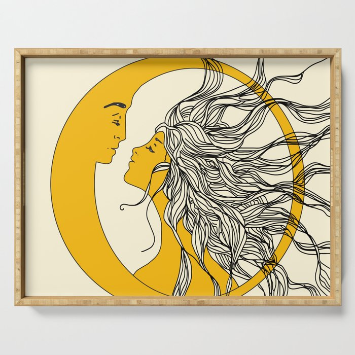 contemporary art sun and moon serving tray