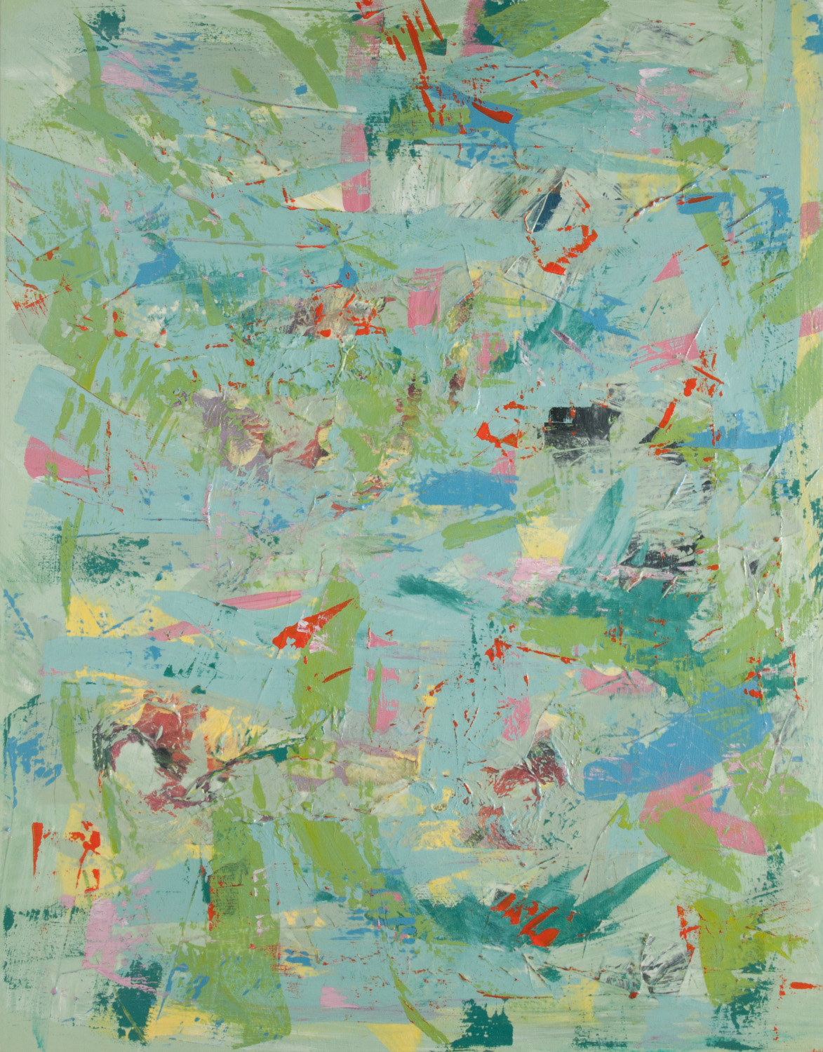 green, blue, yellow, pink abstract painting