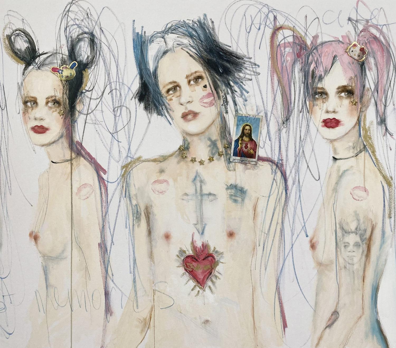 sensual painting of three people