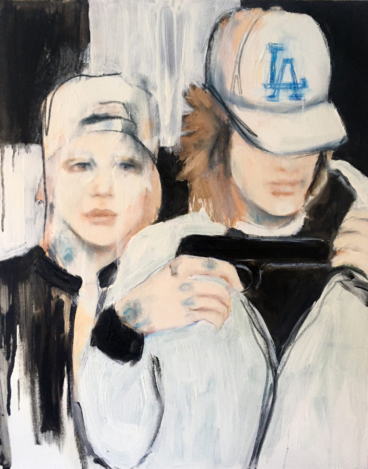 Painting of two young people in baseball caps
