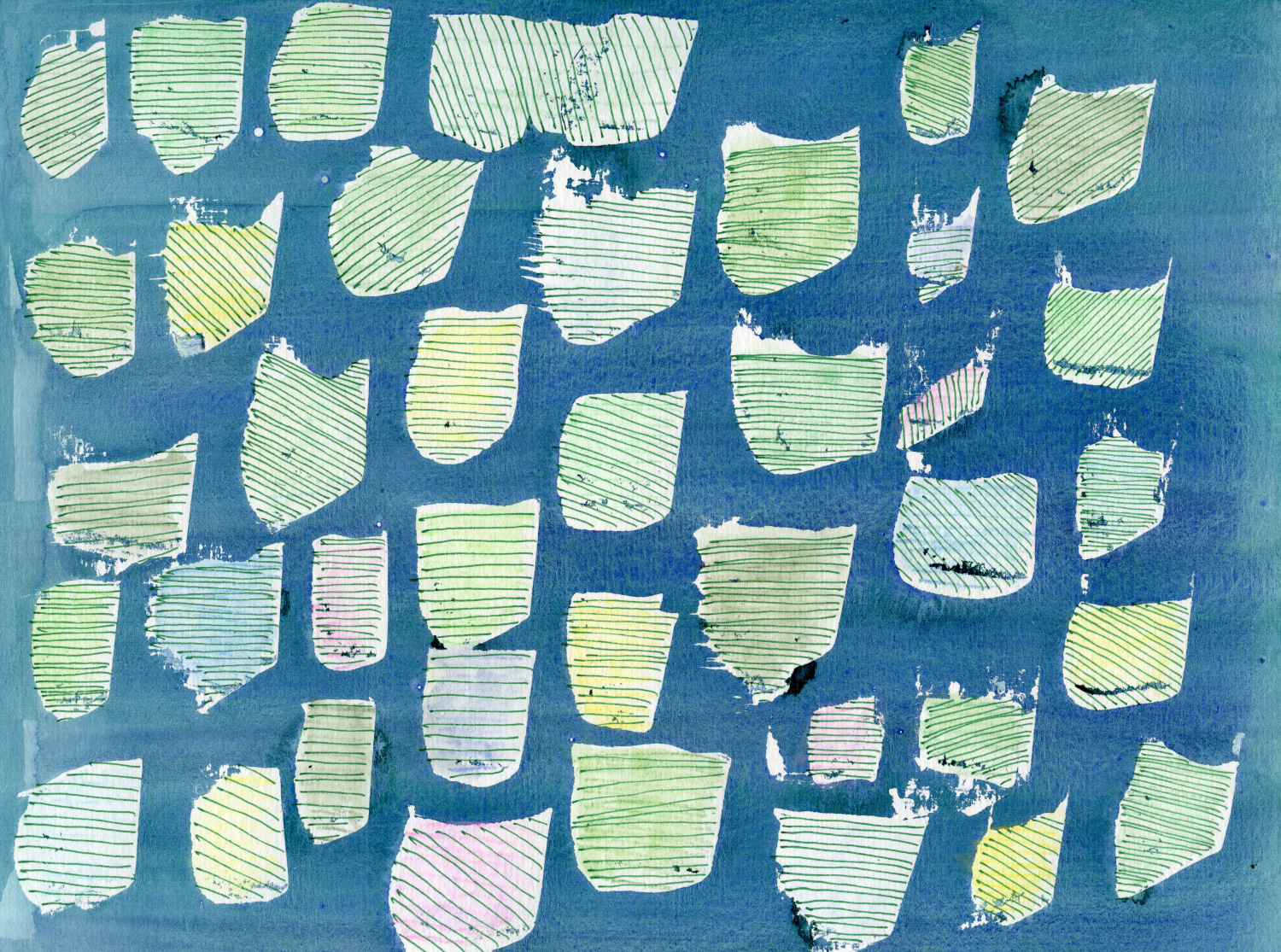 abstract painting with blue, green, pink, and yellow