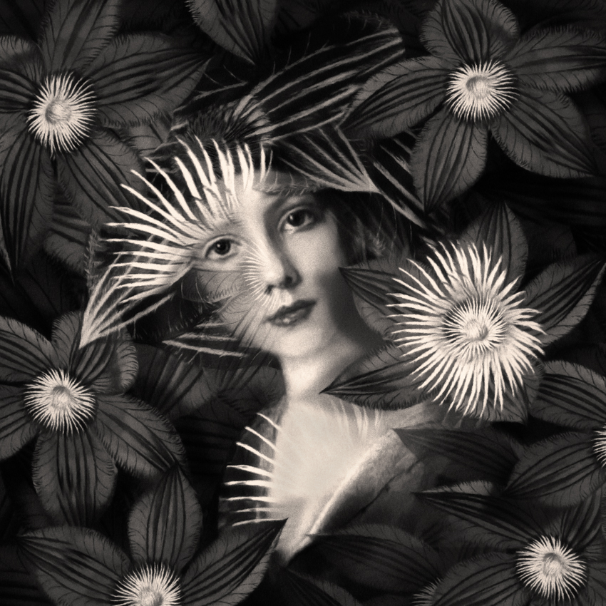 Black and white young woman with flowers