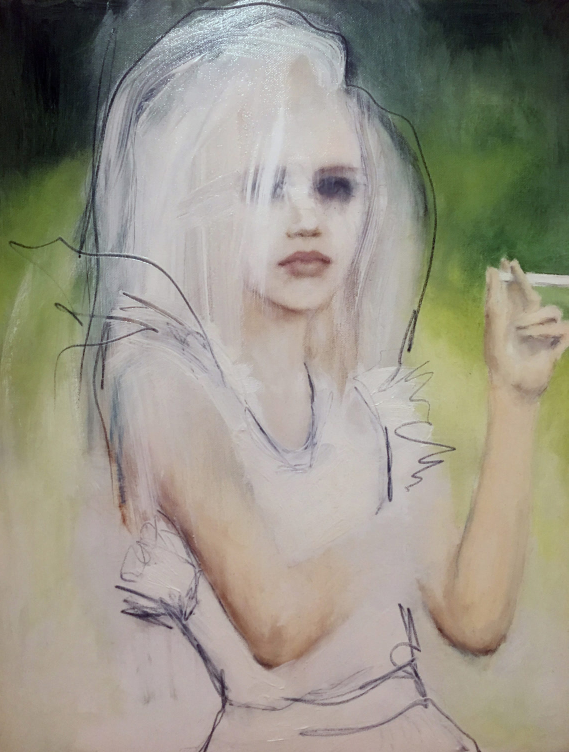 Painting of young girl with candy cigarette