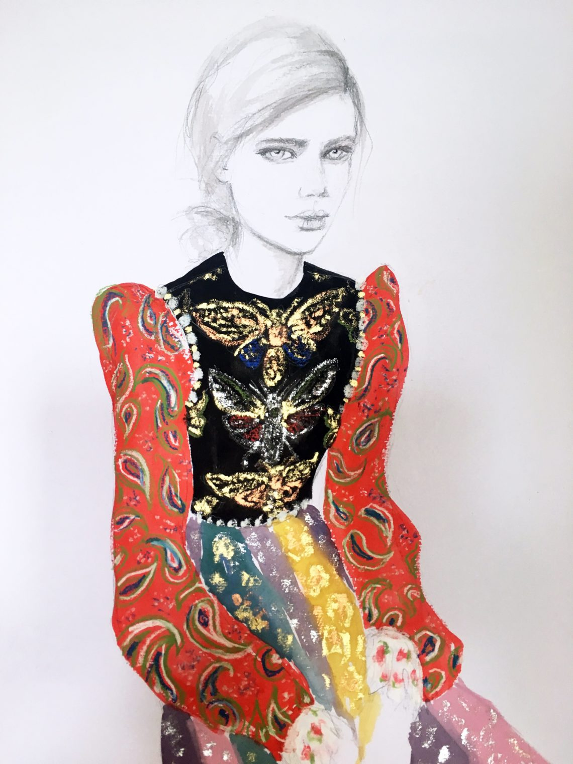 painting of womain wearing a dress