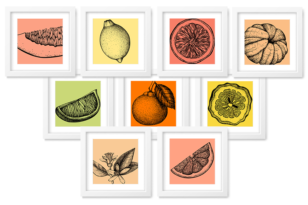 citrus art printables 8x8