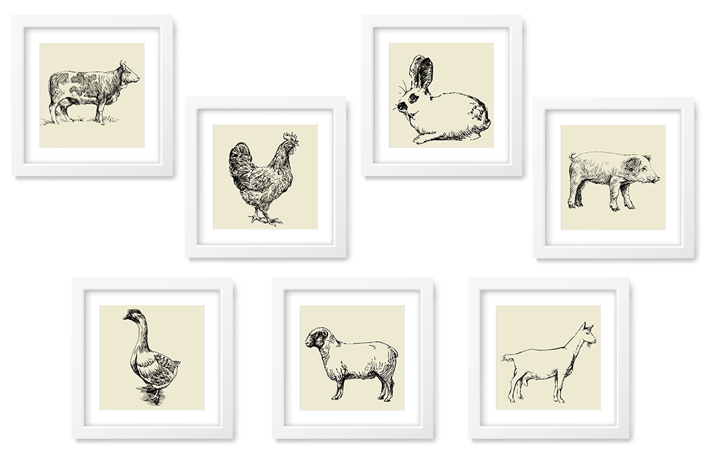 farm animal printables 8x8