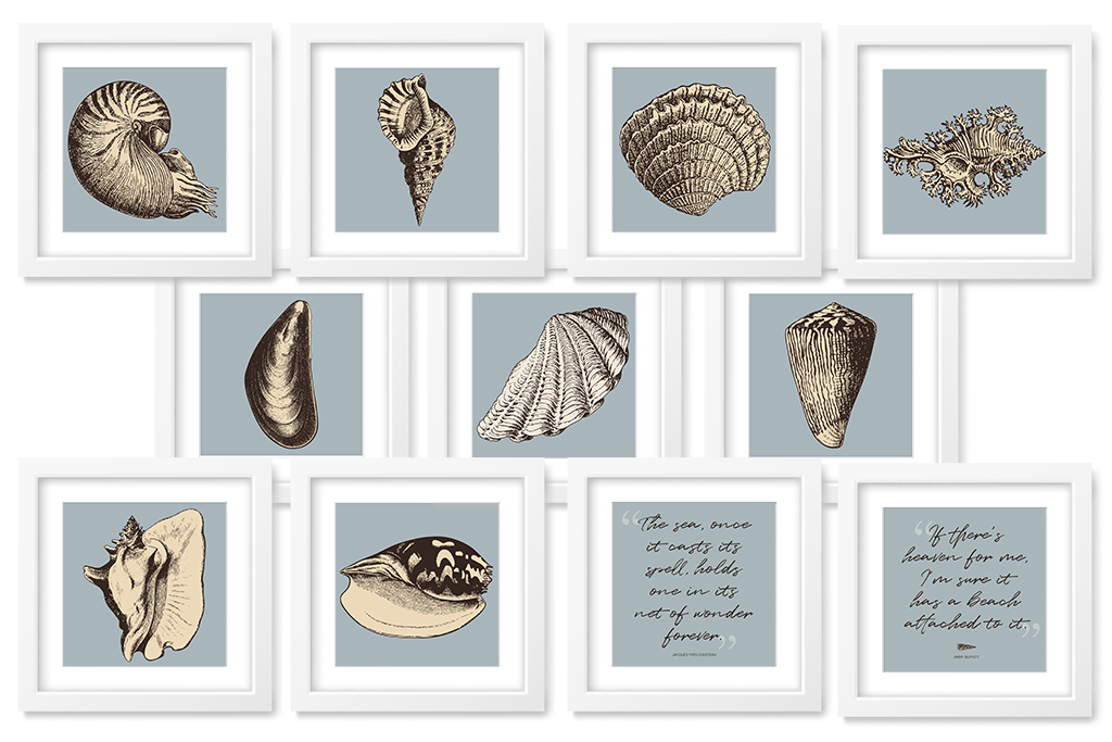 shell art printables with blue background