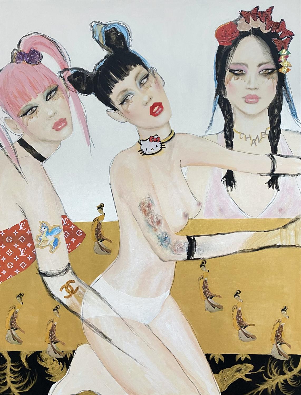 painting of three women