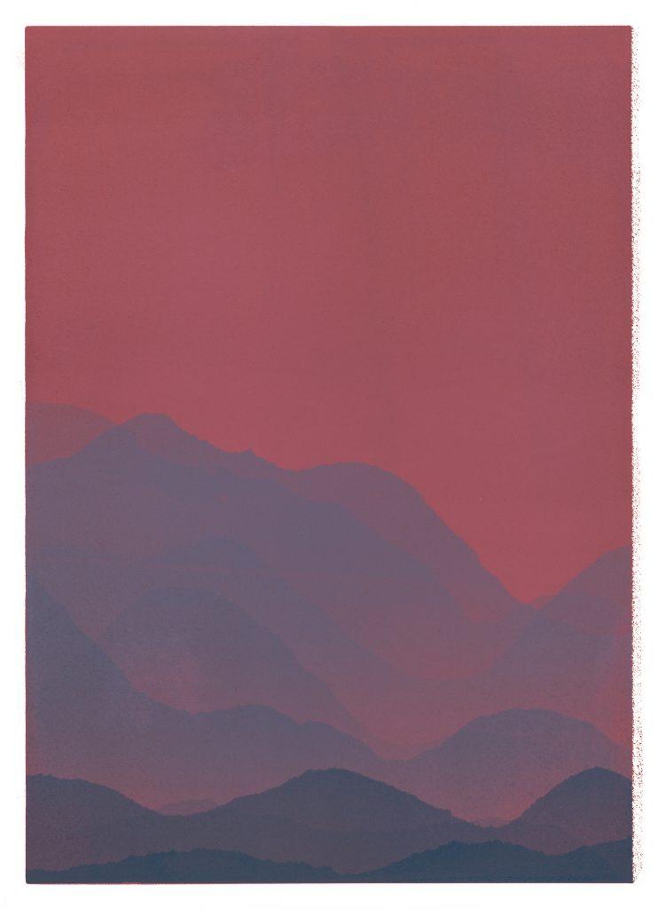 red and purple landscape monoprint