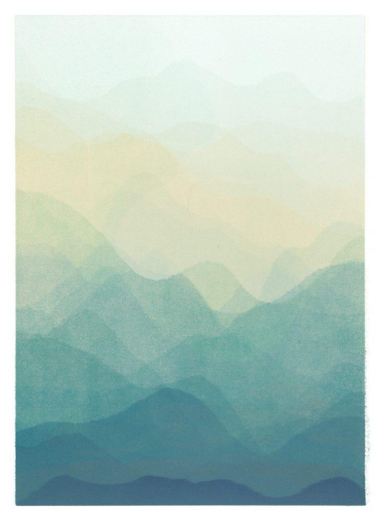 blue landscape print