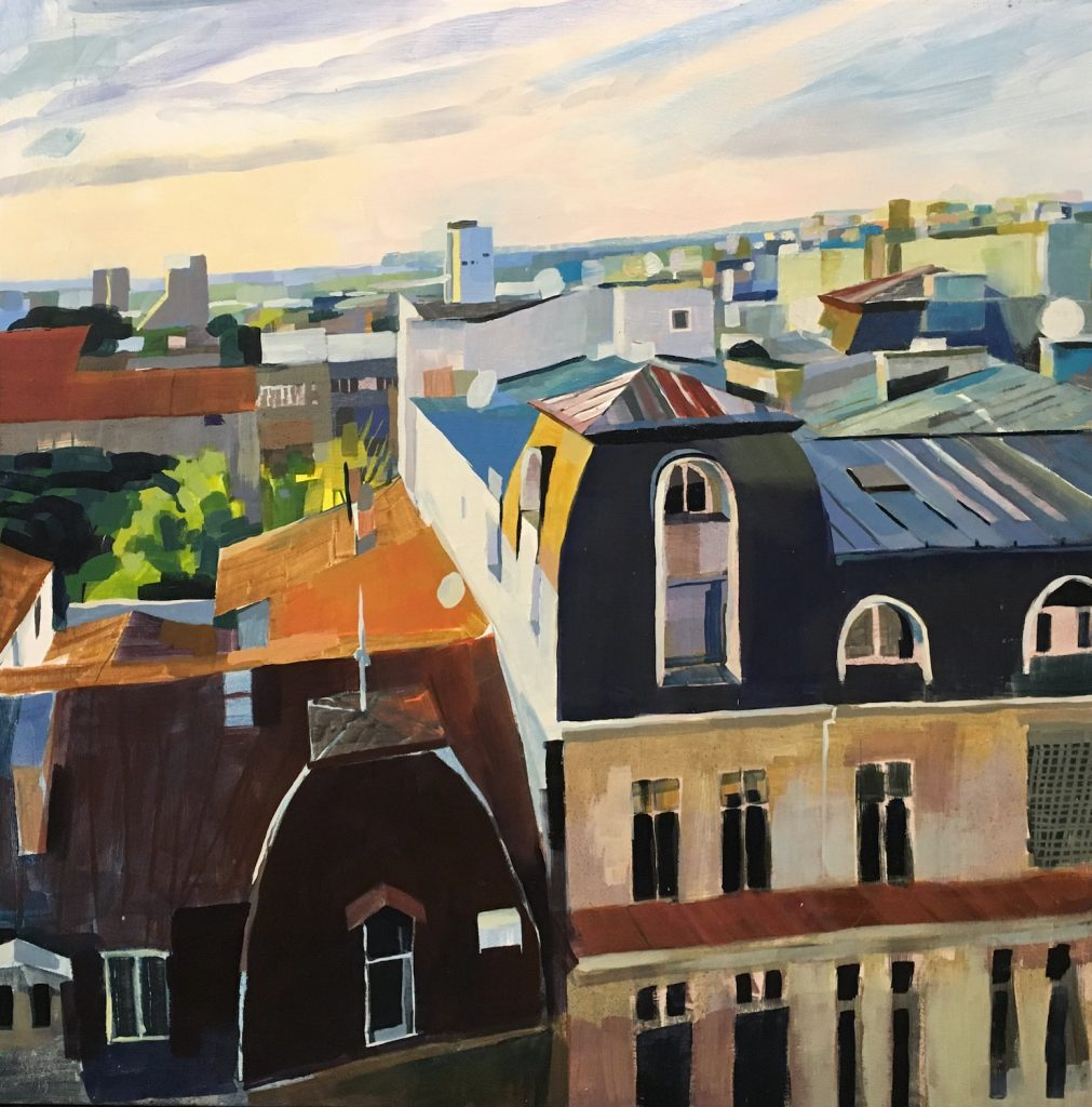 painting of roof tops