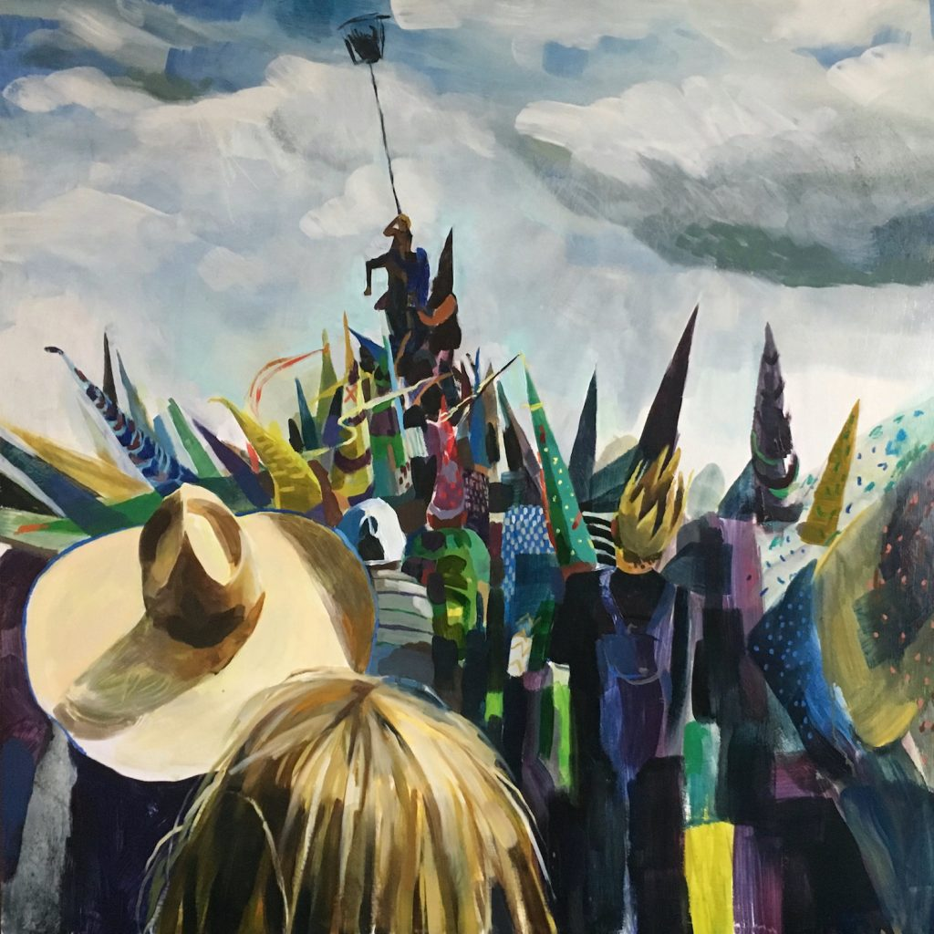 painting of crowd at Mardi Gras