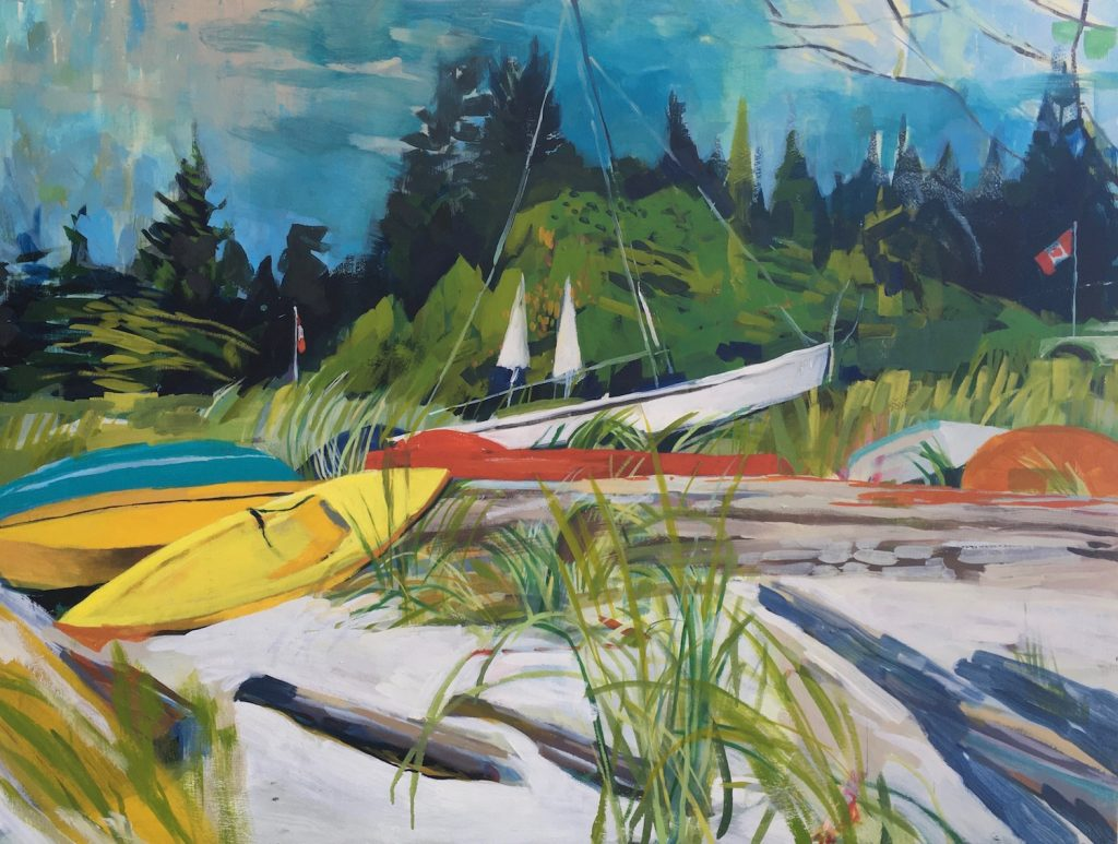 painting of kayaks
