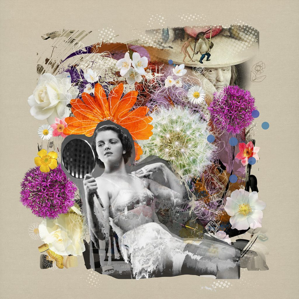 new media photography collage of woman and flowers