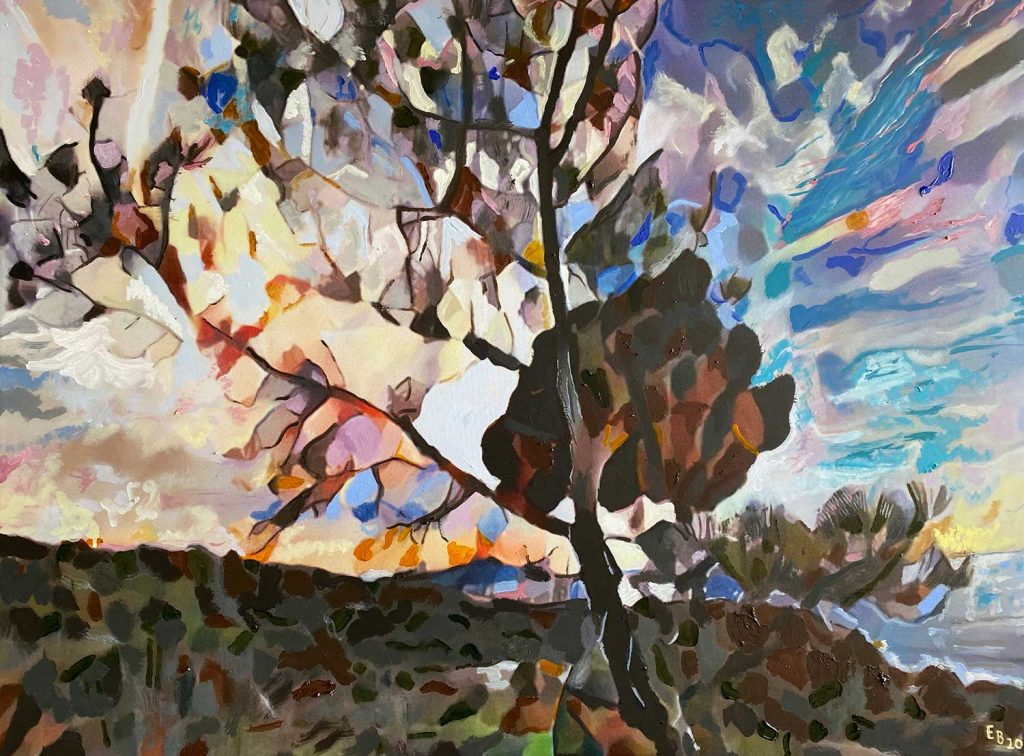 expressionist painting of tree on mountain