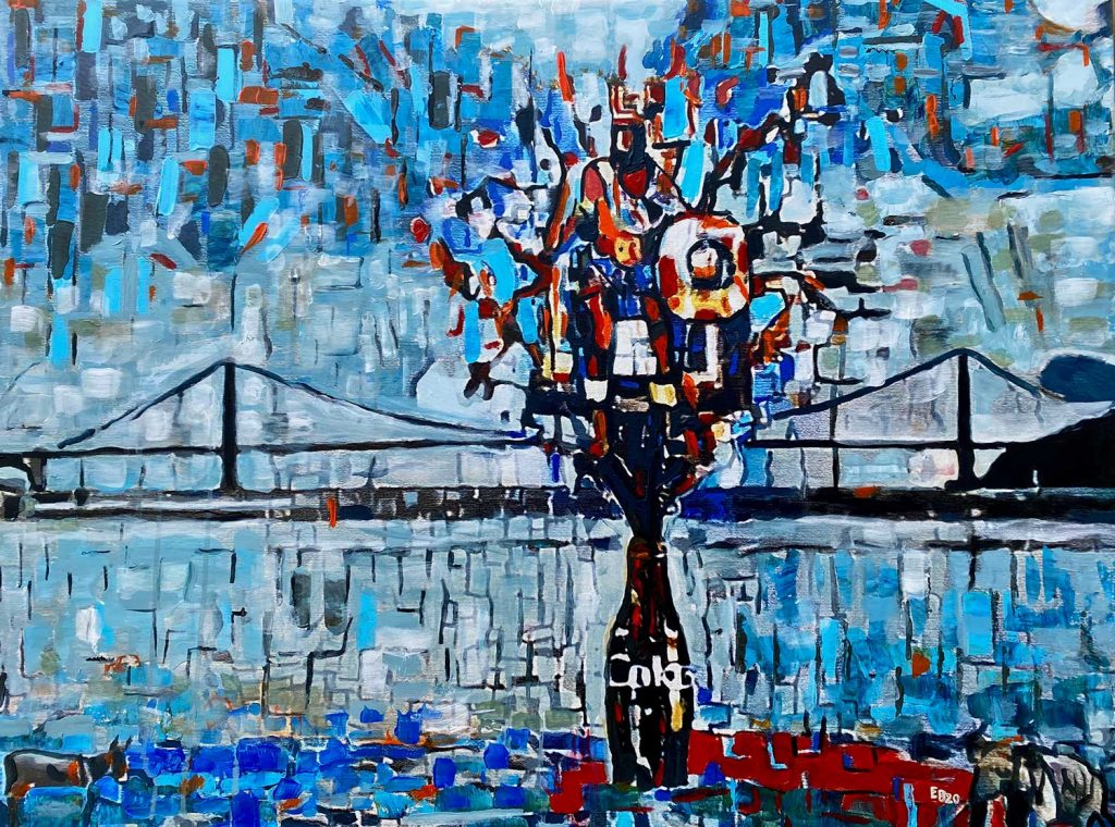 expressionist painting of a bridge