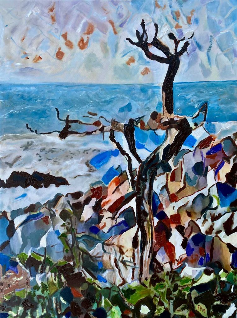 expressionistic painting of tree