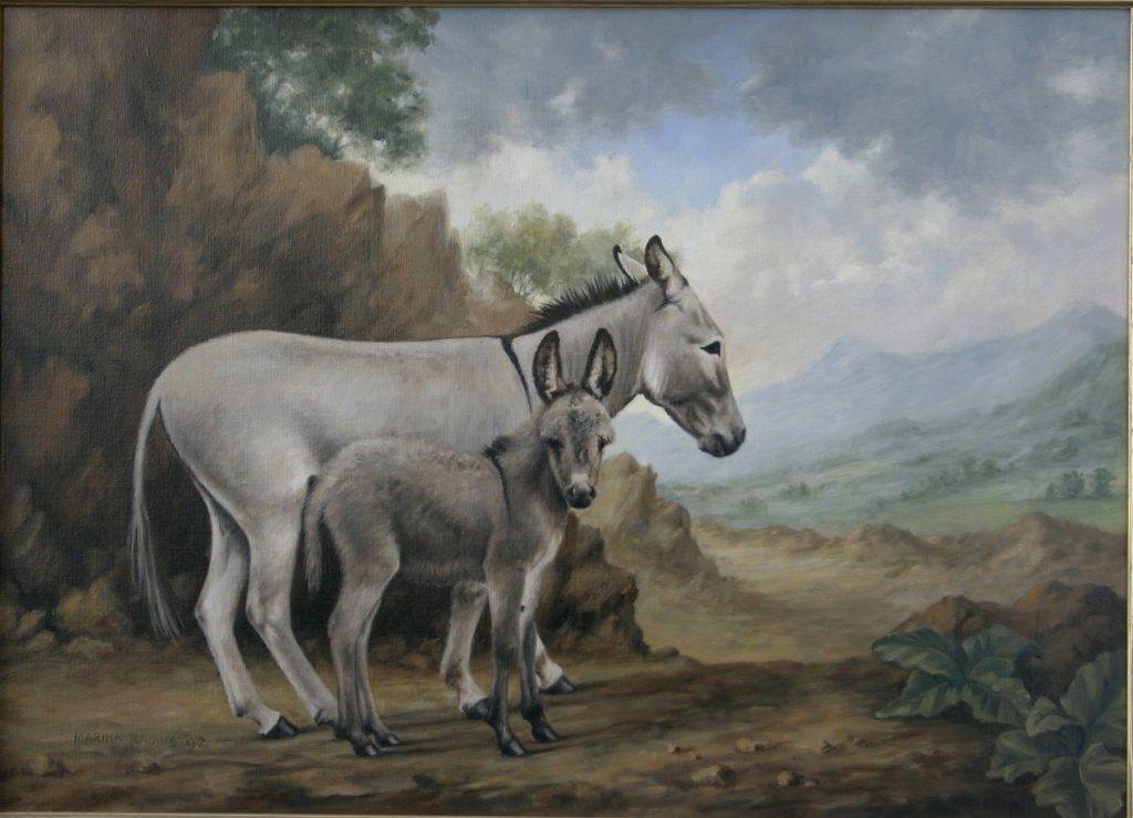 painting of donkeys