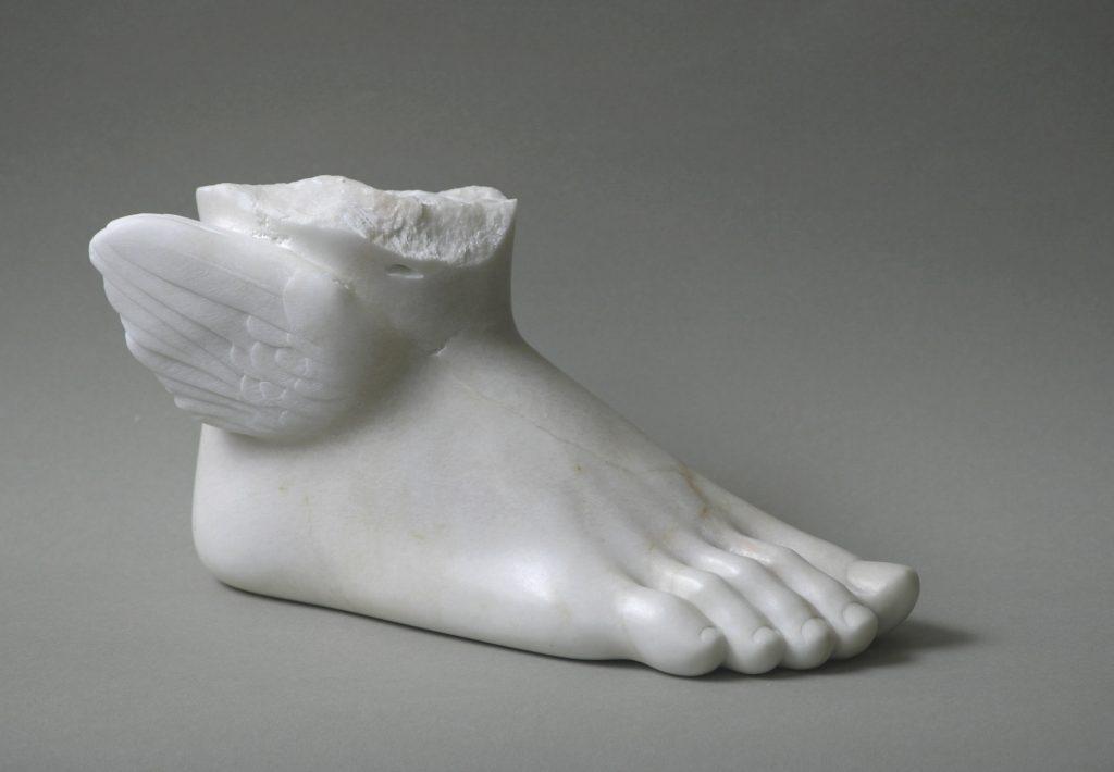 sculpture of hermes's foot