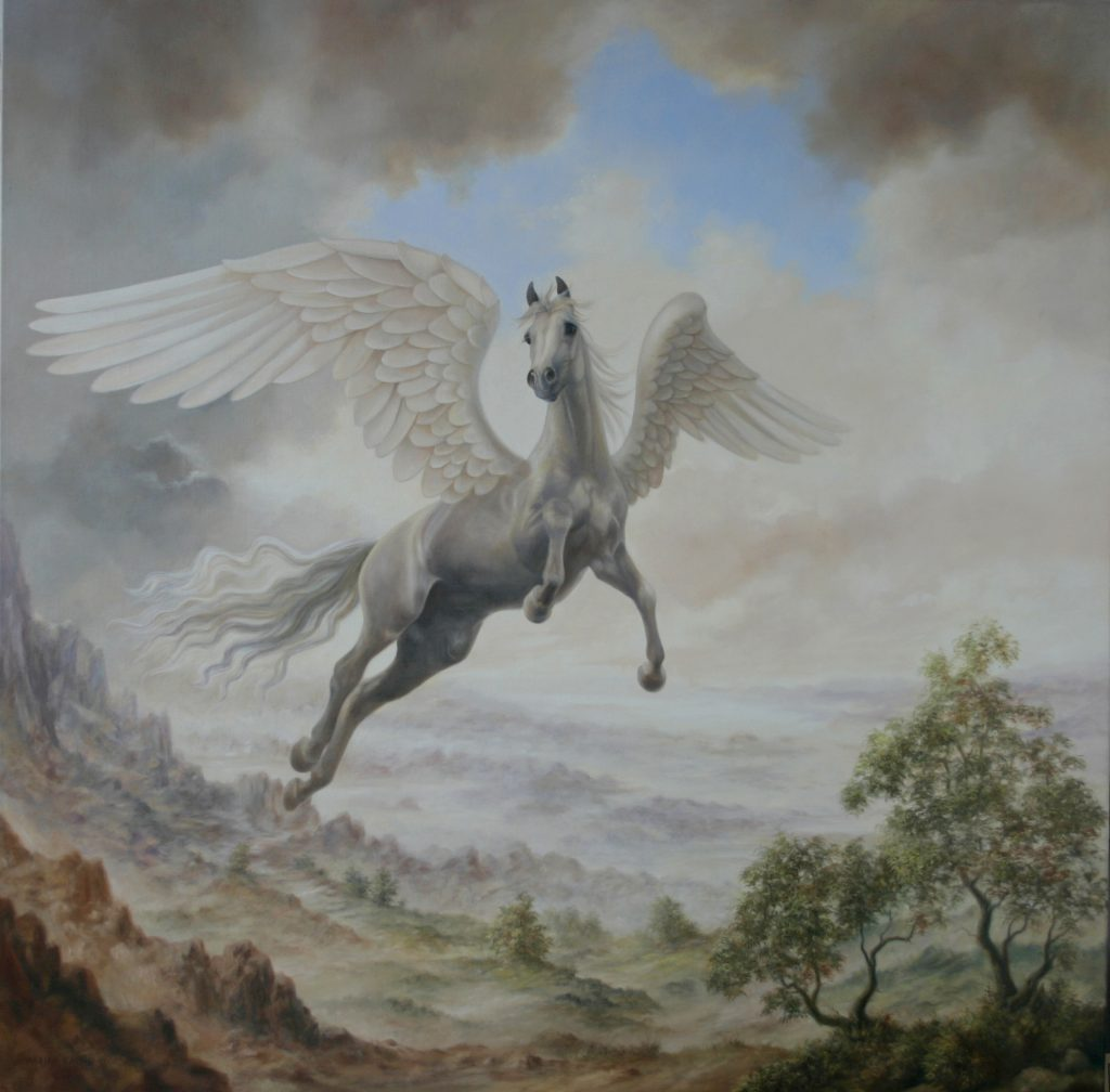 painting of flying horse