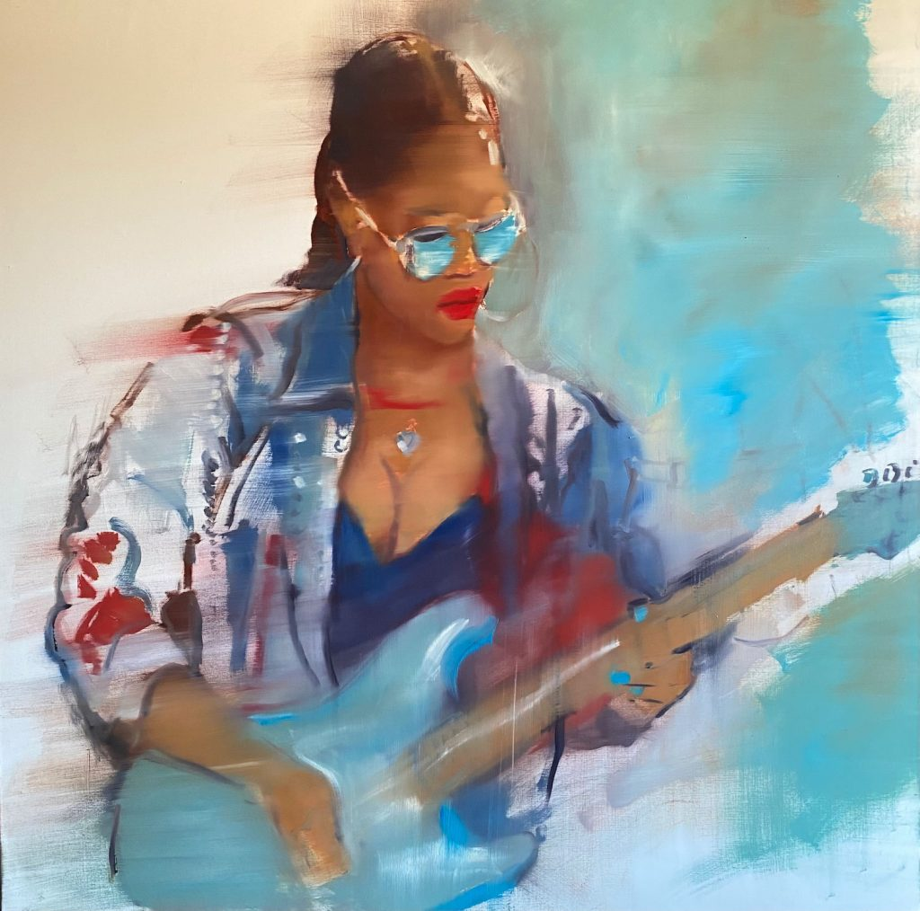 pentimenti painting of woman guitar player