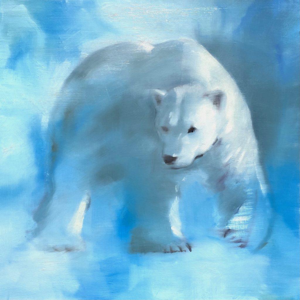 pentimenti painting of a polar bear