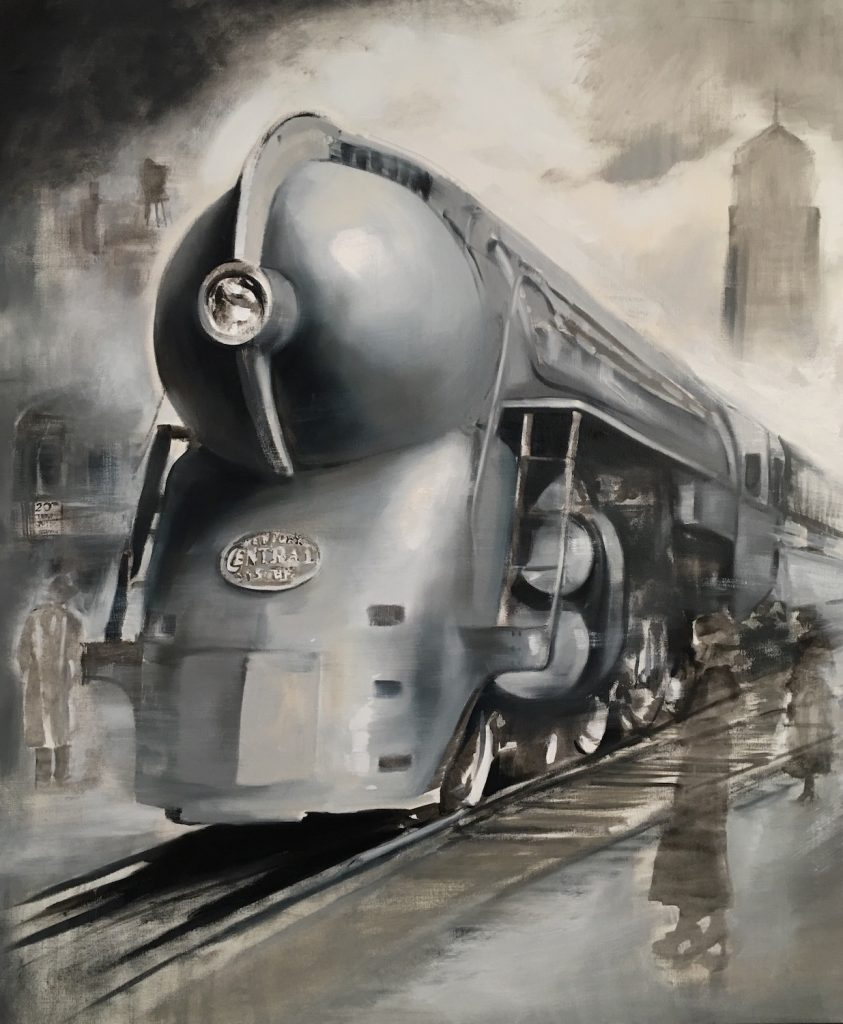 painting of a train