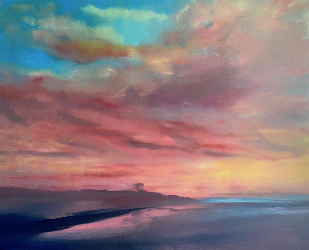 pentimenti painting of a sunset
