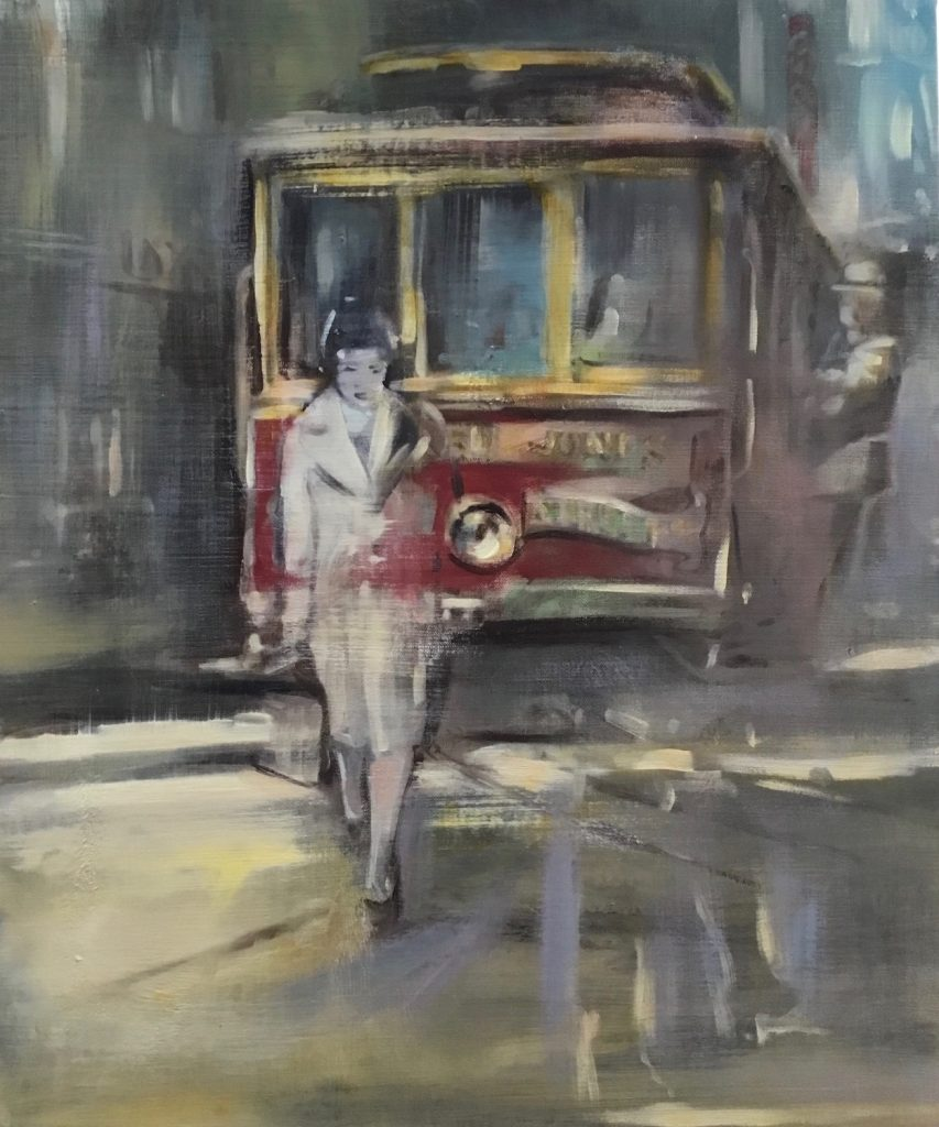 painting of a trolley