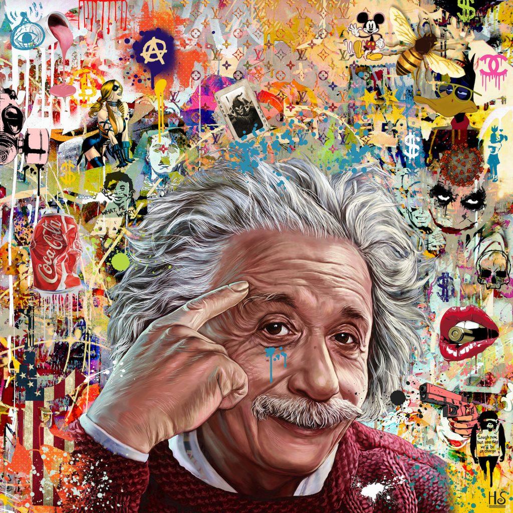 pop culture painting of Einstein