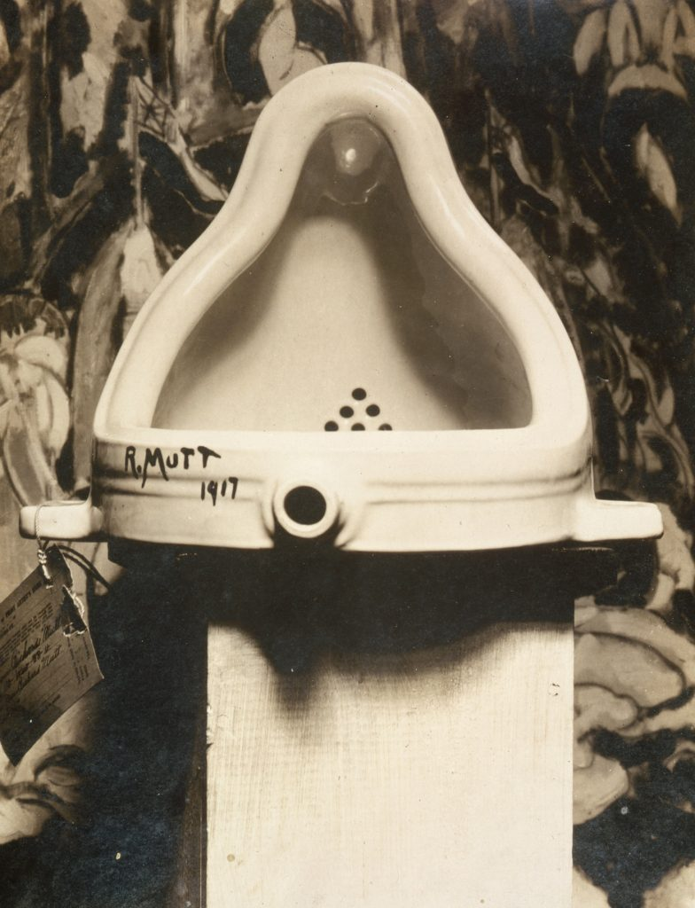 black and white photo of Marcel Duchamp's art