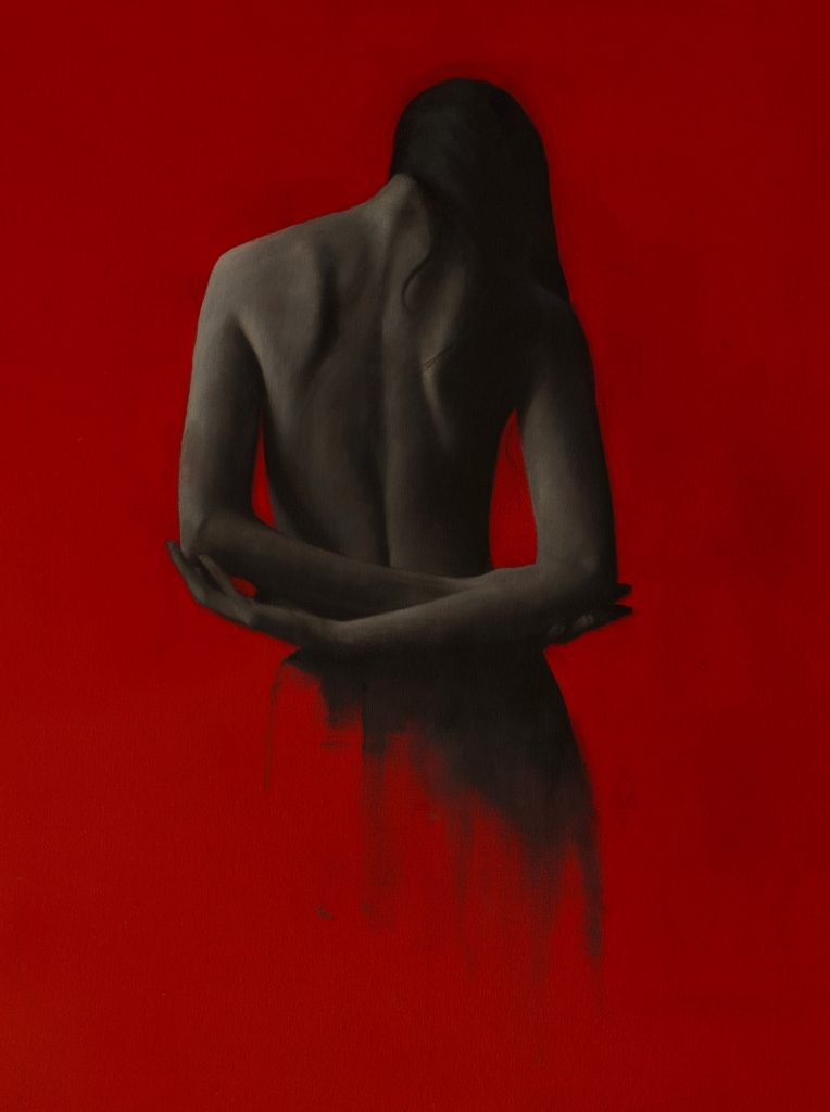 red classical nude painting of woman's back