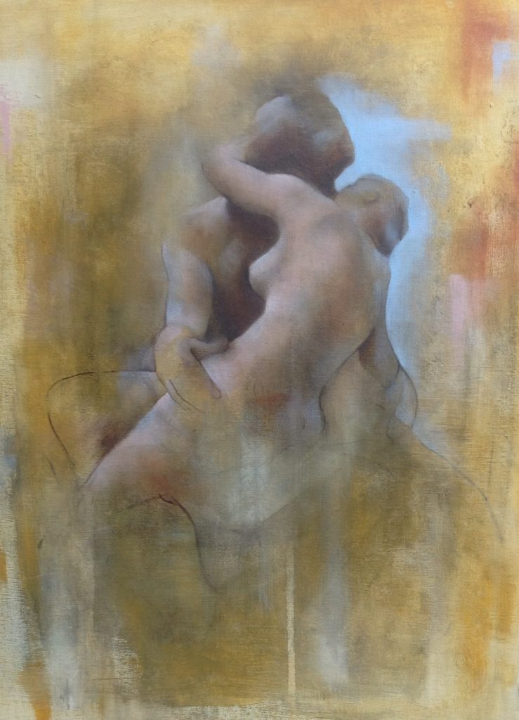 painting of lovers kissing