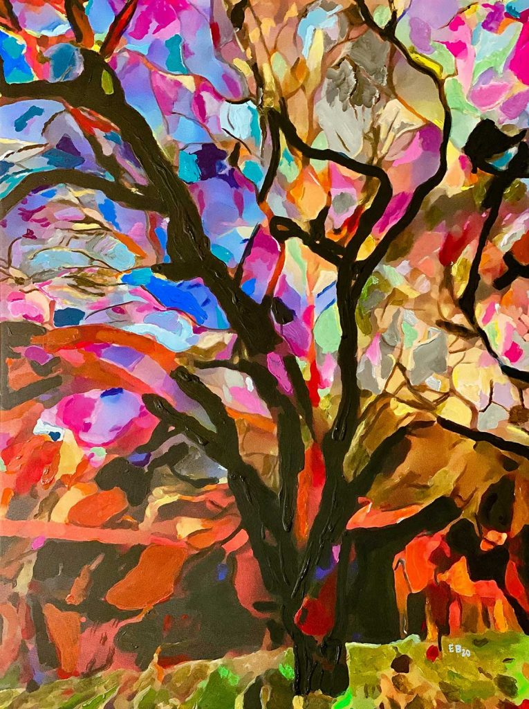 expressionist painting of colorful tree