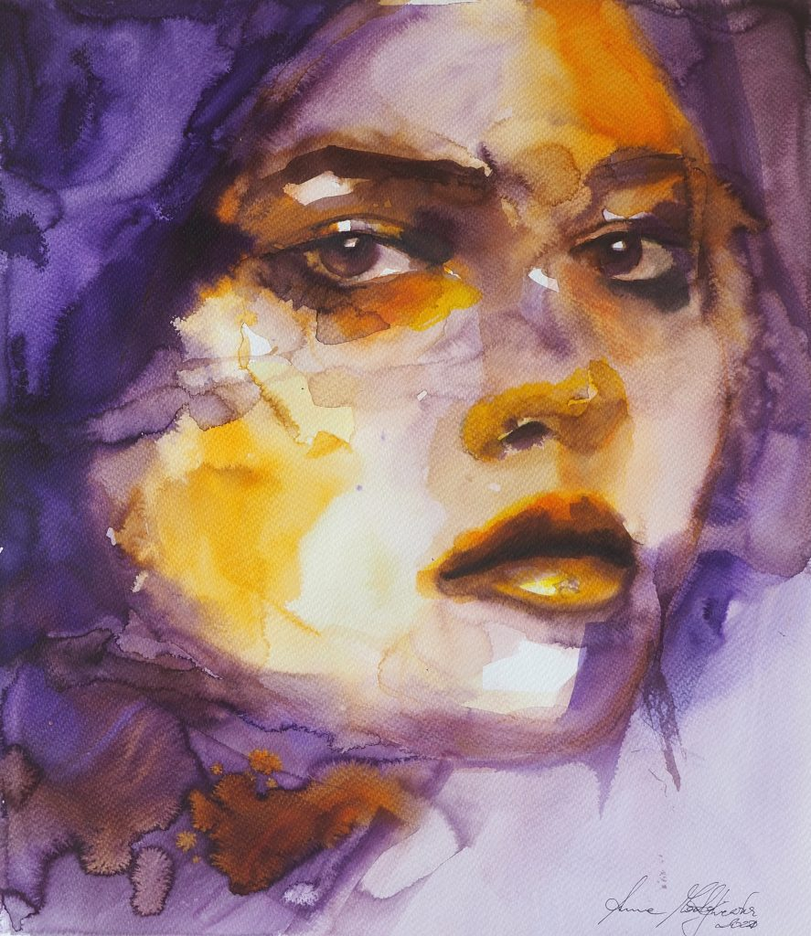 watercolor painting of woman's face