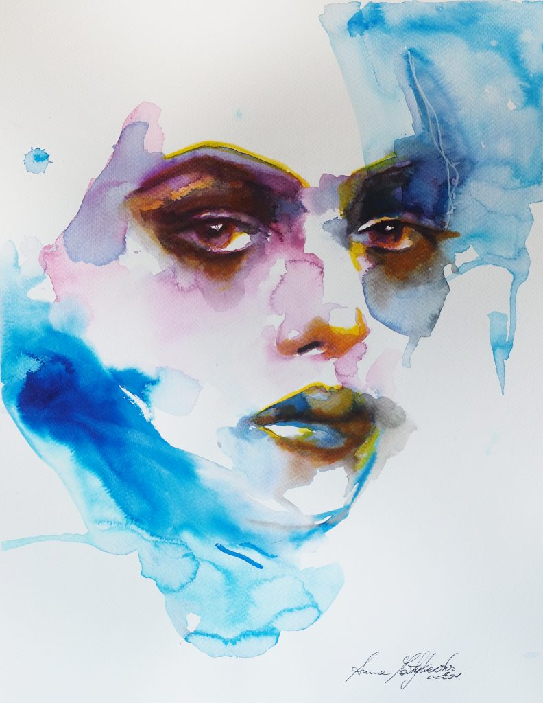 watercolor of woman's face