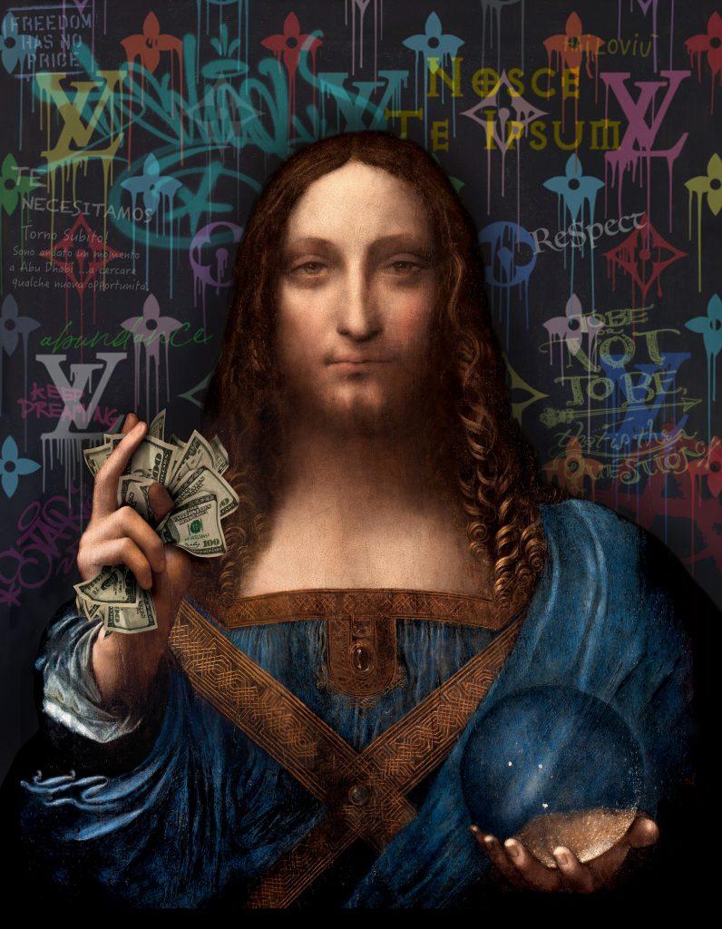 pop art painting of Salvator Mundi