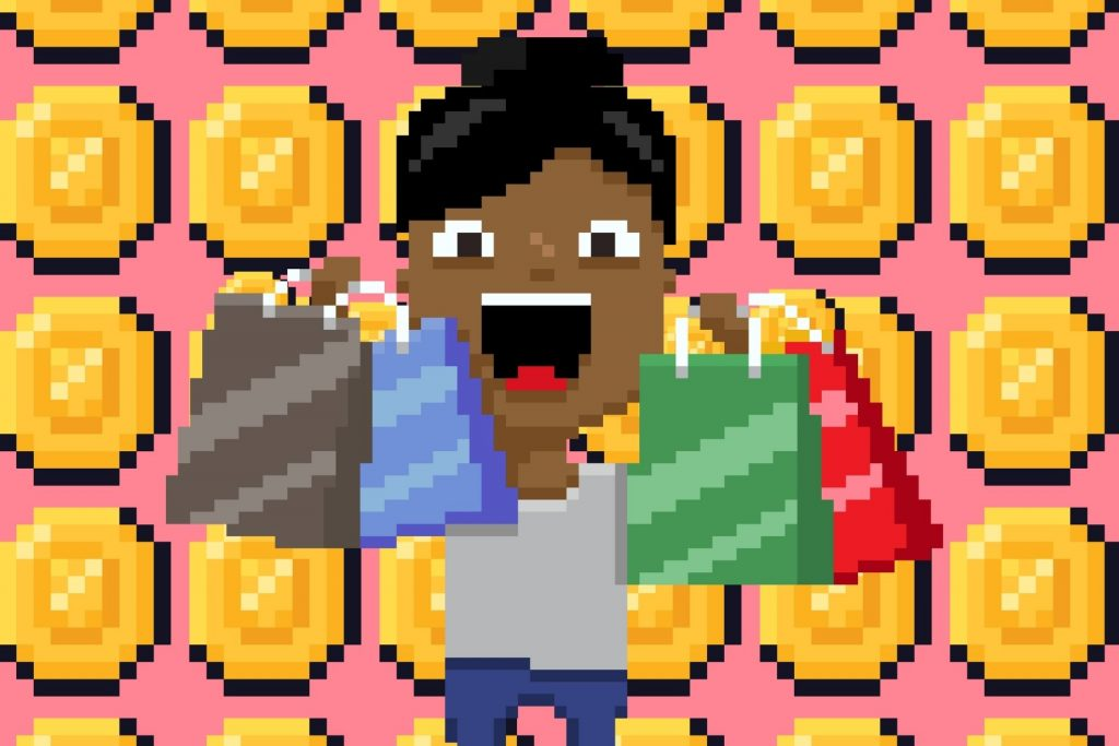 pixel art woman with shopping bags and nft coins