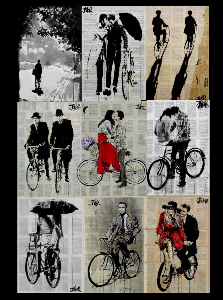 9 rides, all part of cycle book page art series by Loui Jover
