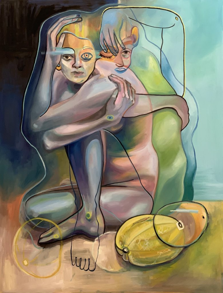 cubist painting of a woman and melons