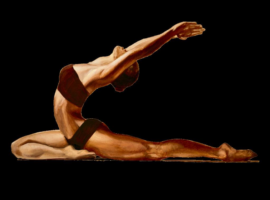 golden athletic yoga on white background
