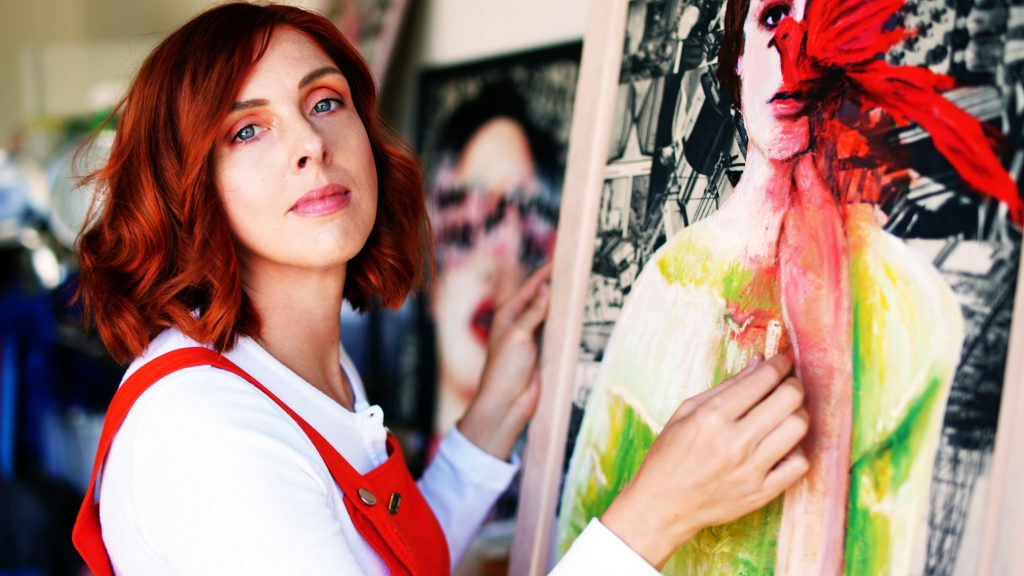Annie Terrazzo working in her studio in Mar Vista California