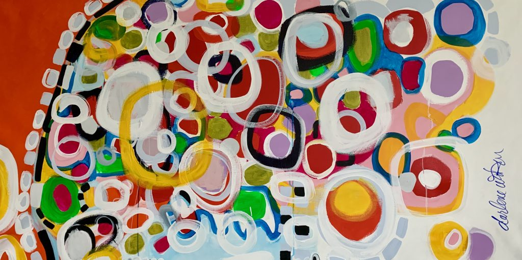Intention vibrant modern abstract painting