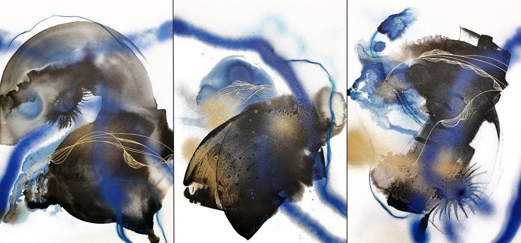 "Triptych ""Blue Major Elle 1.2.3"" by artist Marijah Bac Cam"