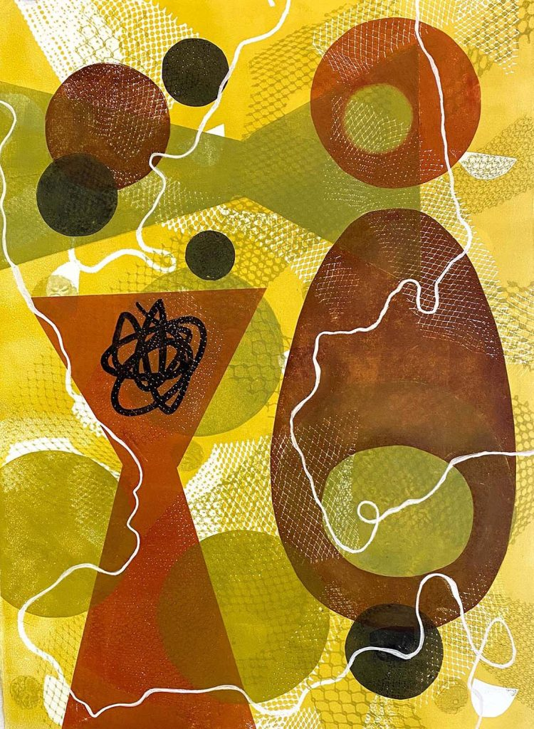 """""""Atomic Egg"""" Beth Herman Adler, 2019 22"""" x 30"""" Monoprint on Arches Paper From the Inspired by Modernism series"""