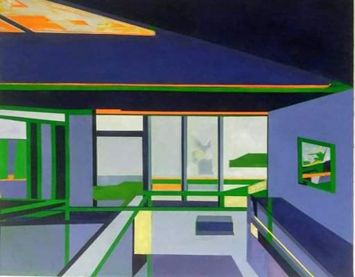 Structural Landscape #54 A classic mid century modern architectural painting.