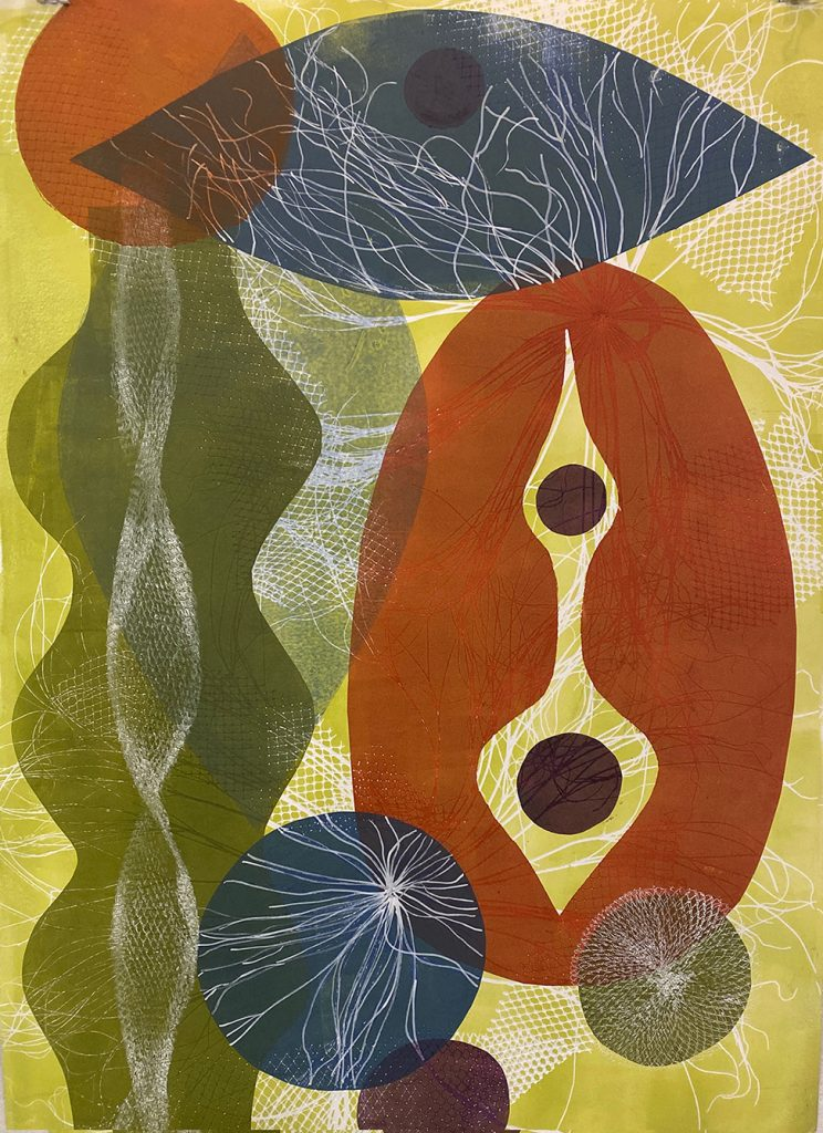 """""""Taking Shape"""" Beth Herman Adler, 2019 22"""" x 30"""" Monoprint on Arches Paper From the Inspired by Modernism series"""