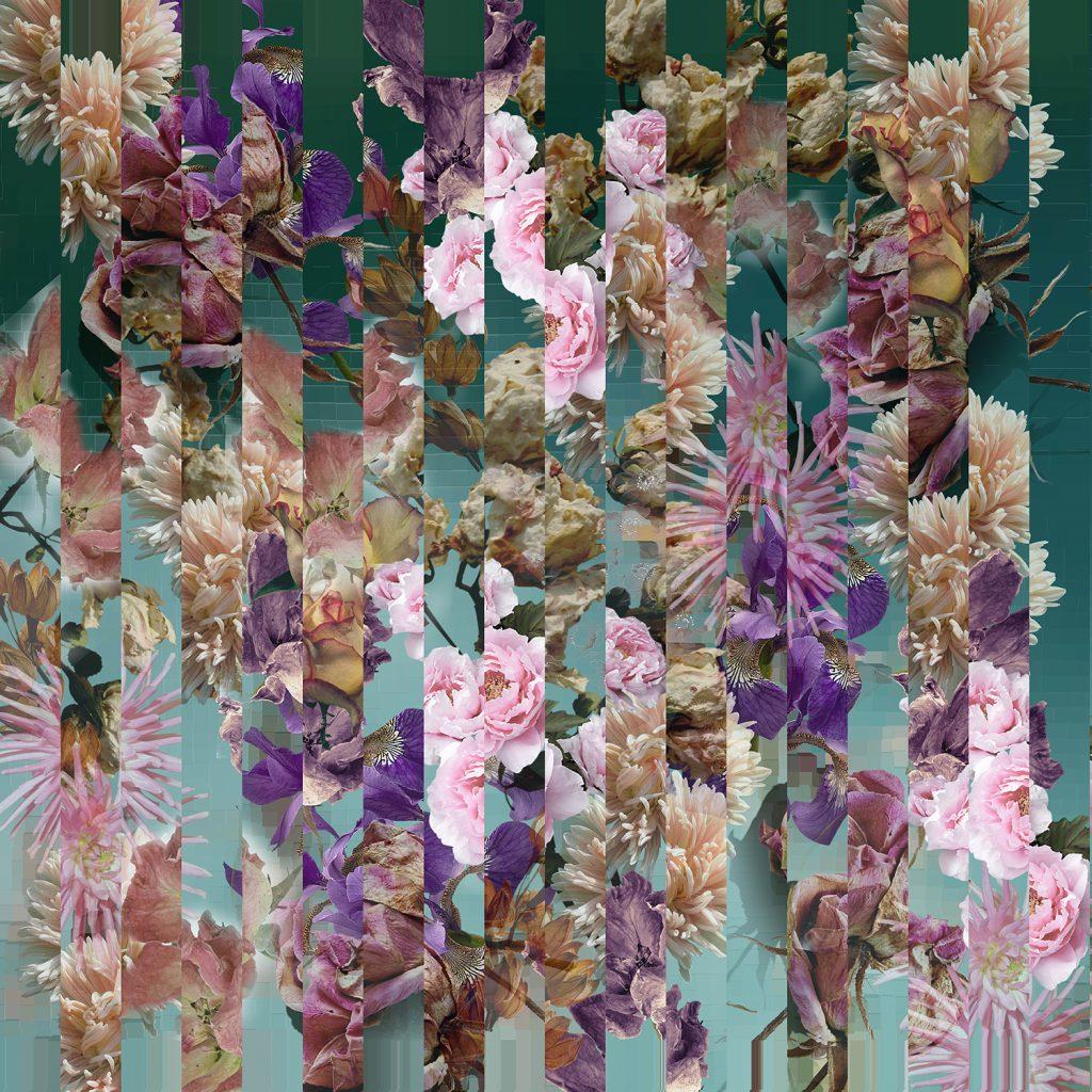 Blue garden Floral pattern on blue ice grunge background