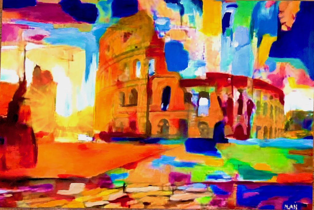 Colosseo all'alba, Mixed Media large painting